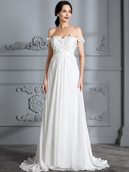 A-lijn/Prinses Schoudervrij Mouwloos Chiffon Tot de Grond Bruidsjurken