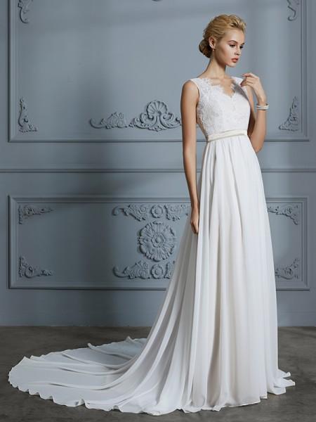 A-lijn/Prinses Mouwloos V-Hals Chiffon Hofsleep Bruidsjurken