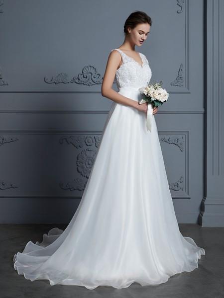 A-lijn/Prinses V-Hals Mouwloos Tot de Grond Kant Chiffon Bruidsjurken
