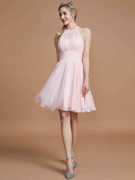 A-lijn/Prinses Chiffon Knie-Lengte Mouwloos Decolleté Bruidsmeisjes Jurken