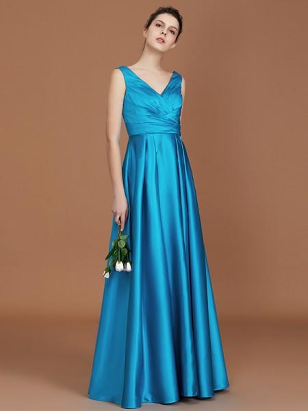 A-lijn/Prinses V-Hals Mouwloos Tot de Grond Ruches Satijn Bruidsmeisjes Jurken