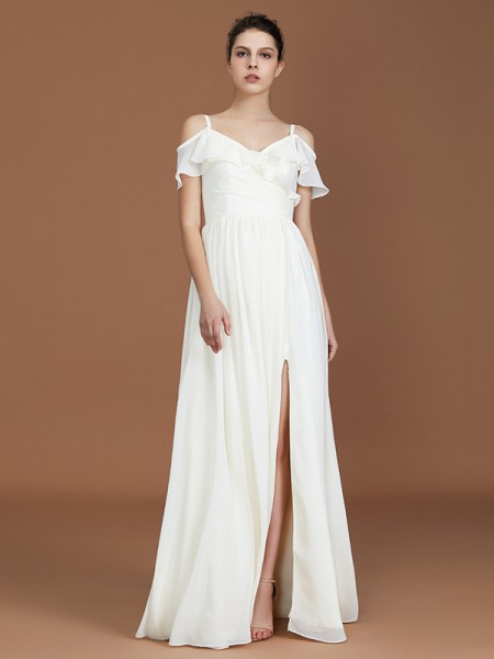 A-Line/Princess Short Sleeves Spaghetti Straps Ruched V-neck Floor-Length Chiffon Bridesmaid Dresses