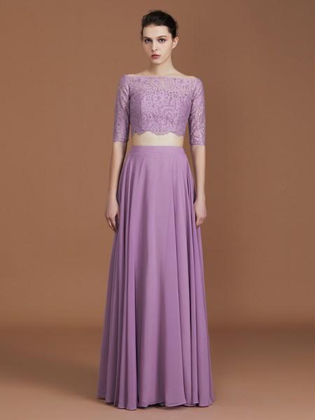 A-Line/Princess Lace Off-the-Shoulder 1/2 Sleeves Floor-Length Chiffon Bridesmaid Dress