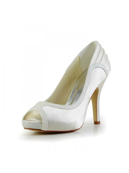 Women's Amazing Satijn Stiletto Heel Ivory Wedding Shoes