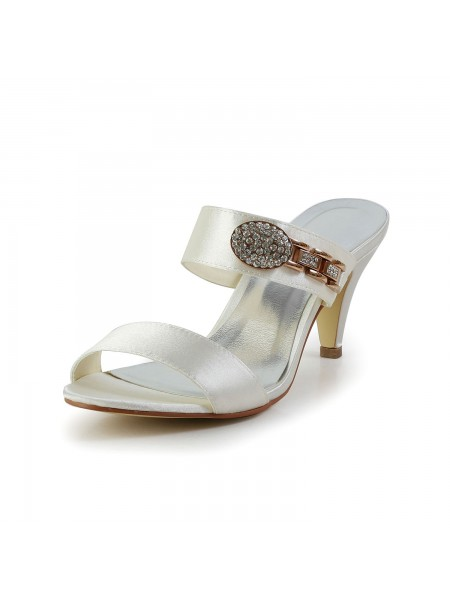 Women's Attractive Satijn Peep Toe Cone Heel With Bergkristal Ivory Sandal Shoes