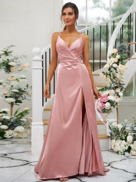 A-lijn/Prinses Silk like Satijn Met Ruches V-Hals Mouwless Tot de Grond Bruidsmeisjesjurken