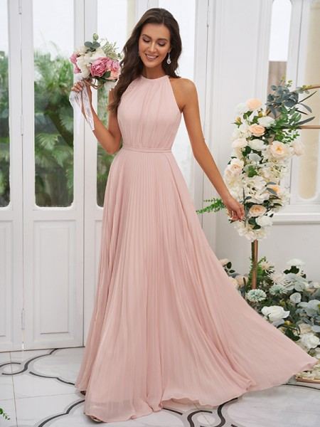 A-lijn/Prinses Chiffon Ruches Halter Mouwless Tot de Grond Bruidsmeisjesjurken