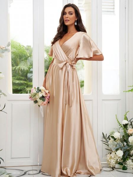 A-lijn/Prinses Silk like Satijn Sjerp/Lint/Riem V-Hals Short Mouws Tot de Grond Bruidsmeisjesjurken