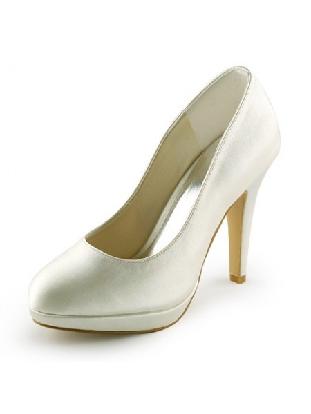 Women's Beautiful Satijn Stiletto Heel Closed Toe Platform Ivory Wedding Shoes
