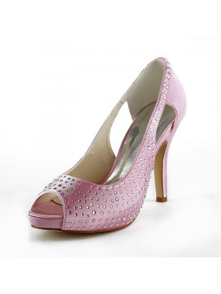 Women's Beautiful Satijn Stiletto Heel Peep Toe With Bergkristal Pink Wedding Shoes