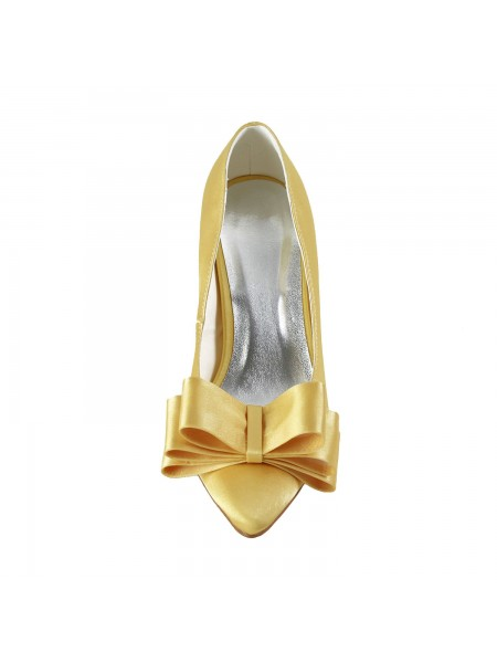 Women's Satijn Spool Heel Closed Toe Strik Gold Wedding Shoes