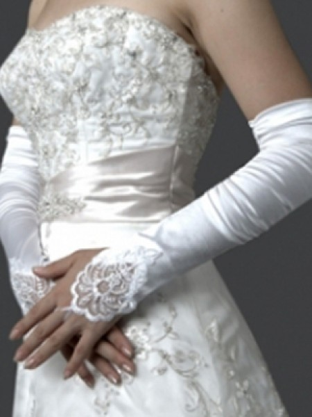 Elastic Satijn Borduurwerk Elbow Gloves