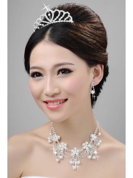Elegant Alloy Clear Kristals Pearls Wedding Headpieces Necklaces Earrings Set
