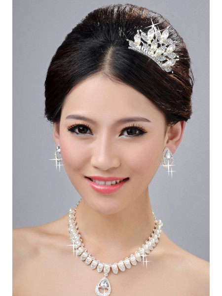 Elegant Pearls Alloy Clear Kristals Wedding Headpieces Necklaces Earrings Set