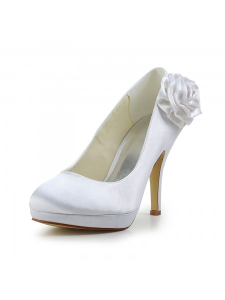Women's Elegant Satijn Stiletto Heel Pumps With Flower White Wedding Shoes