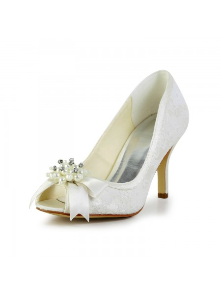 Women's Satijn Stiletto Heel Pumps with Imitation Pearl and Strik Ivory Wedding Shoes