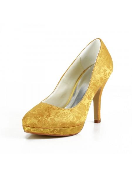 Women's Fashion Satijn Stiletto Heel Closed Toe Platform Gold Wedding Shoes