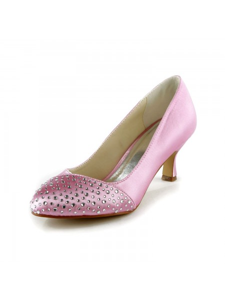Women's Fashion Satijn Stiletto Heel Closed Toe With Bergkristal Pink Wedding Shoes