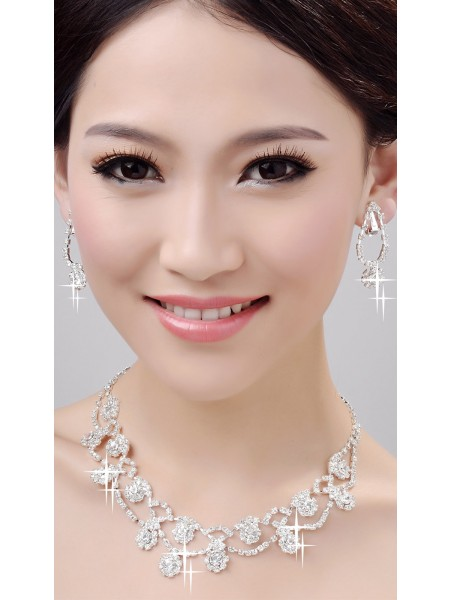 Glamorous Alloy Clear Kristals Wedding Necklaces Earrings Set