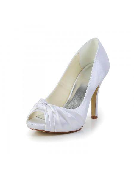 Women's Gorgeous Satijn Stiletto Heel Peep Toe White Wedding Shoes