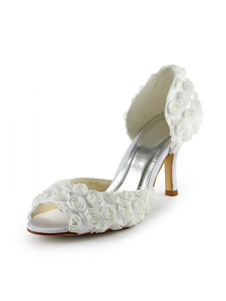 Women's Gorgeous Satijn Stiletto Heel Peep Toe With Flowers White Wedding Shoes
