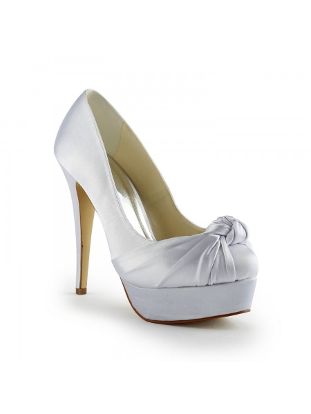 Women's Gorgeous Satijn Stiletto Heel Pumps With Met Ruches White Wedding Shoes