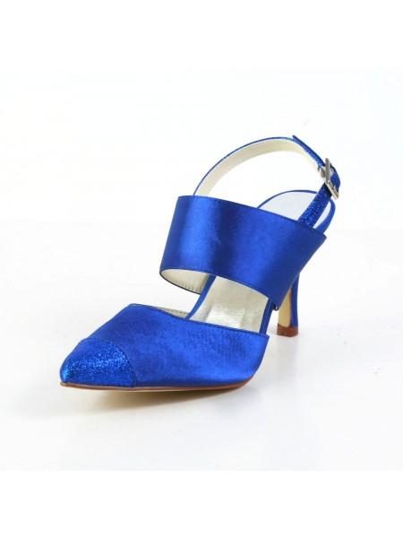Women's Graceful Satijn Stiletto Heel Sandals Closed Toe White Wedding Shoes