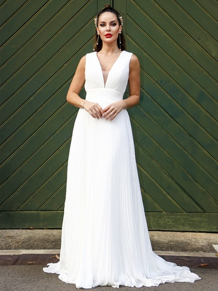 A-lijn/Prinses Chiffon Ruches V-Hals Mouwless Strijksleep Bruidsjurken