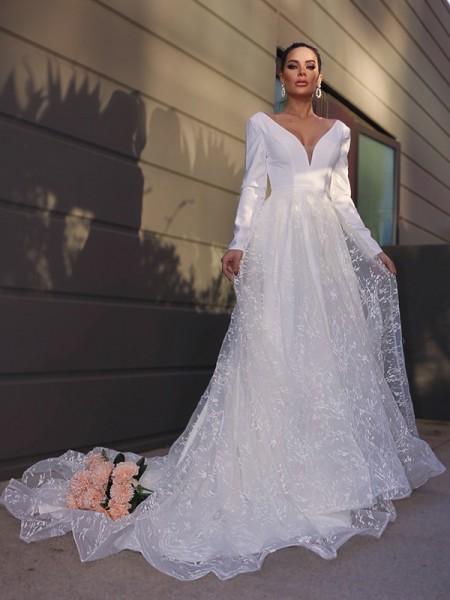 A-lijn/Prinses V-Hals lang Mouws Kant Appliqué Strijksleep Bruidsjurken
