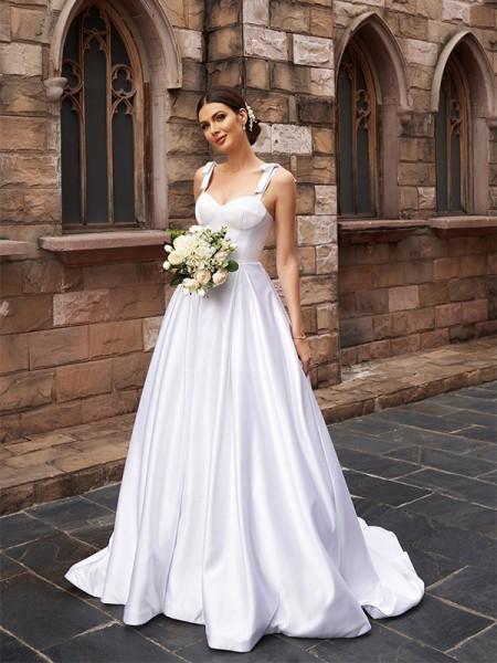 A-lijn/Prinses Satijn Ruches Bandjes Mouwless Strijksleep Bruidsjurken