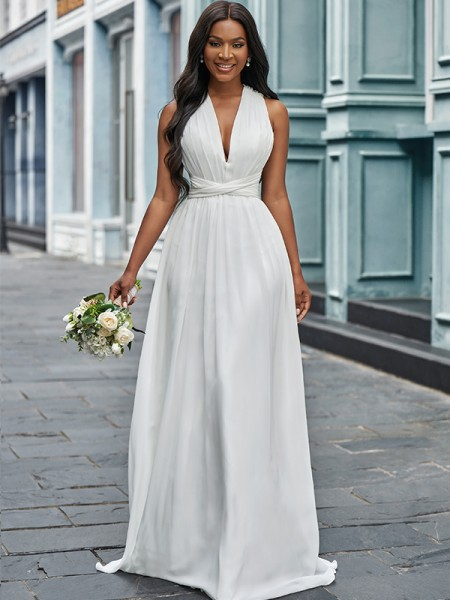 A-lijn/Prinses Chiffon Halter Met Ruches Mouwless Tot de Grond Bruidsjurken