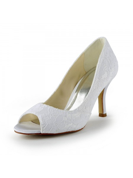 Women's Kant Satijn Stiletto Heel Peep Toe Sandals White Wedding Shoes