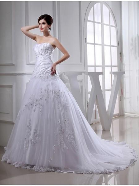 A-lijn/Prinses Kralenwerk Lang Mouwloos Strapless Tule Tafzijde Bruidsjurken