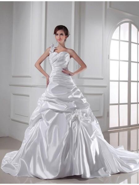 A-lijn/Prinses One-Schouder Hartvormig Decolleté Mouwloos Lang Vouwen Stretch Satijn Bruidsjurken