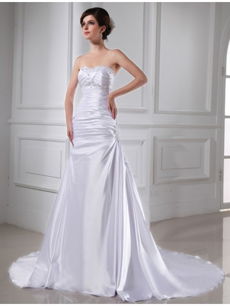 A-lijn/Prinses Kralenwerk Appliqué Mouwloos Stretch Satijn Bruidsjurken