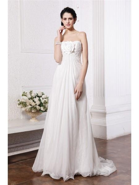 A-lijn/Prinses Strapless Mouwloos Kralenwerk Handgemaakte Bloem Lang Chiffon Bruidsjurken