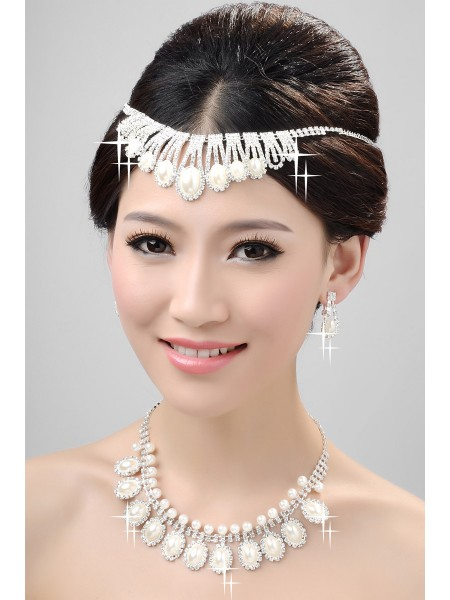 Nice Alloy Clear Kristals Pearls Wedding Headpieces Necklaces Earrings Set
