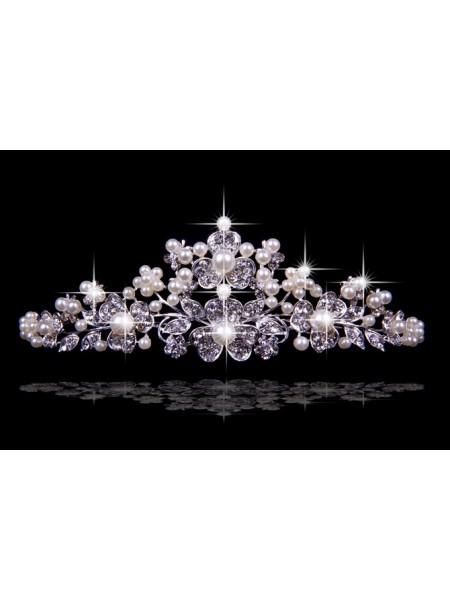 Nice Czech Bergkristals Flower Pearls Wedding Headpieces