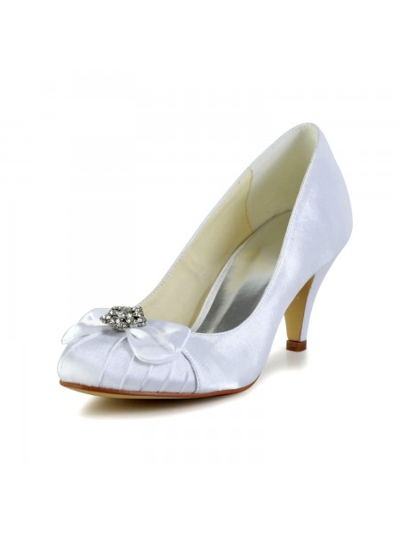Women's Satijn Cone Heel Closed Toe White Wedding Shoes With Strik Bergkristal