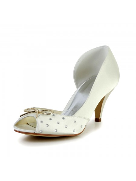 Women's Nice Satijn Cone Heel Bergkristal Ivory Wedding Shoes