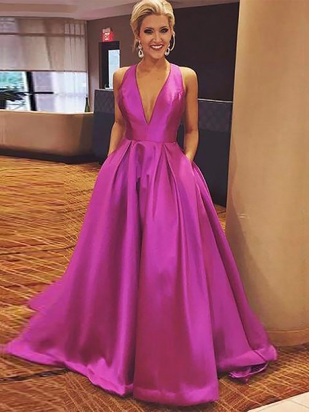 A-Line V-neck Sleeveless Floor-Length With Ruffles Satin Dresses