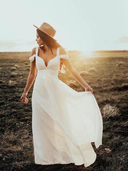 A-lijn/Prinses Korte Mouwen V-Hals Bandjes Tot de Grond Ruches Chiffon Bruidsjurken
