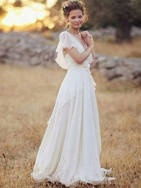 A-lijn/Prinses Chiffon V-Hals Met Ruches Korte Mouwen Tot de Grond Bruidsjurken