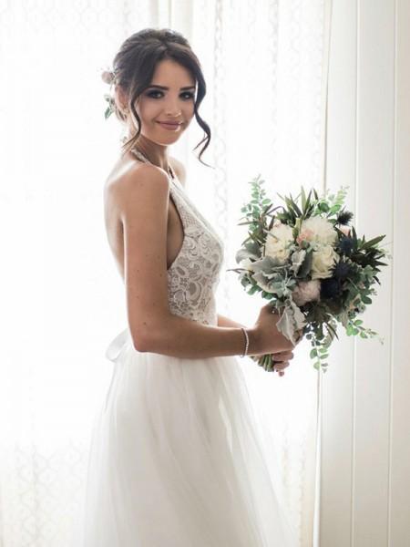 A-lijn/Prinses Kant Tule Mouwloos Halter Tot de Grond Bruidsjurken