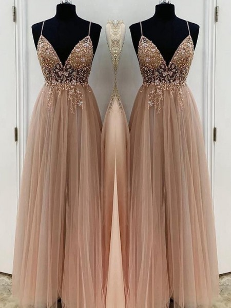 A-lijn/Prinses Kralenwerk Tule Spaghetti Bandjes Mouwless Floor-Length Dresses