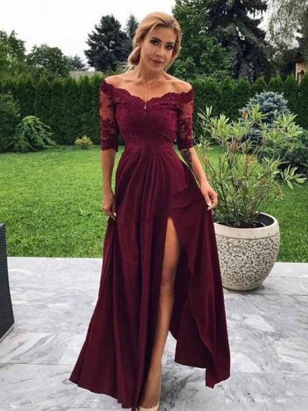 A-lijn/Prinses Zijden Satijn Appliqué Schoudervrij 1/2 Mouws Floor-Length Dresses