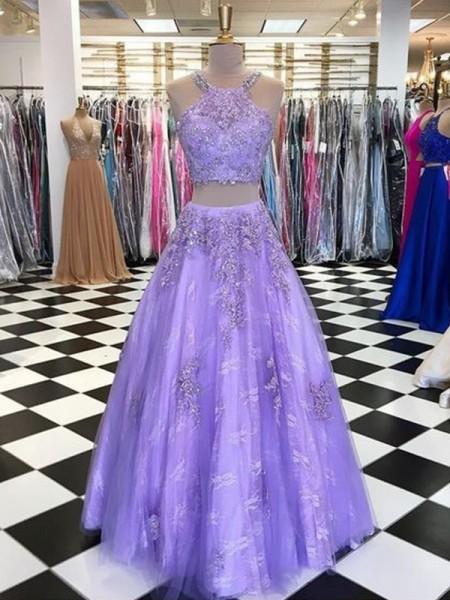 A-lijn/Prinses Tule Kralenwerk Halter Mouwless Floor-Length Tweedelige Dresses