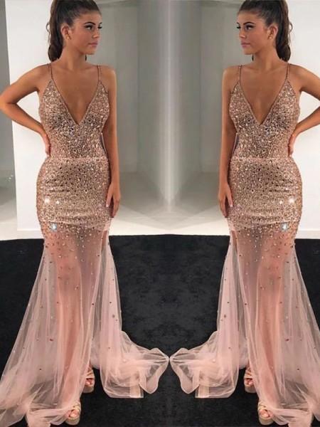 A-lijn/Prinses Tule Pailletten V-Hals Mouwless Strijksleep Dresses