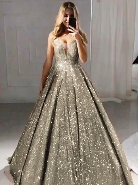 A-Line/Princess V-neck Sequins Ruffles Floor-Length Sleeveless Dresses