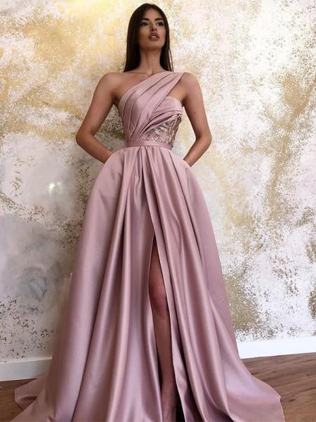 A-lijn/Prinses Satijn Mouwless Met Ruches One-Shoulder Strijksleep Dresses